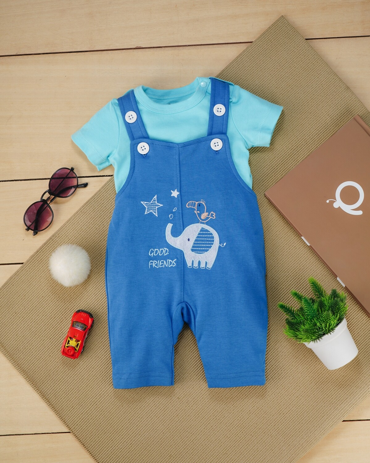 Gamer Blue Cotton Dungaree with Beach Blue Half Sleeve T-shirt For Boys