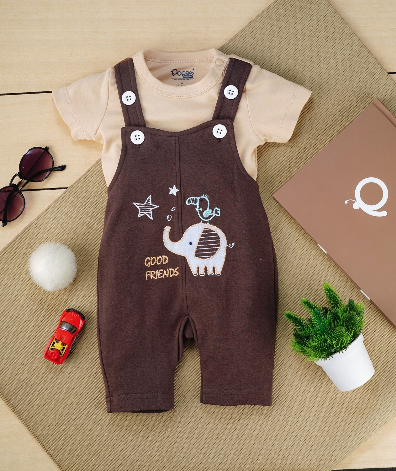 Gamer Dark Brown Cotton Dungaree with Beige Half Sleeve T-Shirt For Boys