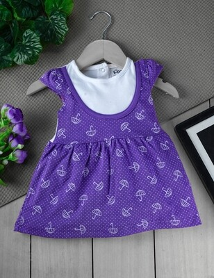 Sophic Lavender Cap Sleeves Umbrella Printed Cotton Frock with Bloomer for Girls