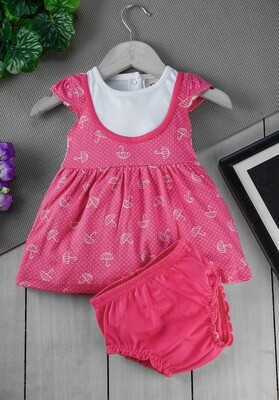 Sophic Fuchsia Cap Sleeves Umbrella Printed Cotton Frock with Bloomer for Girls