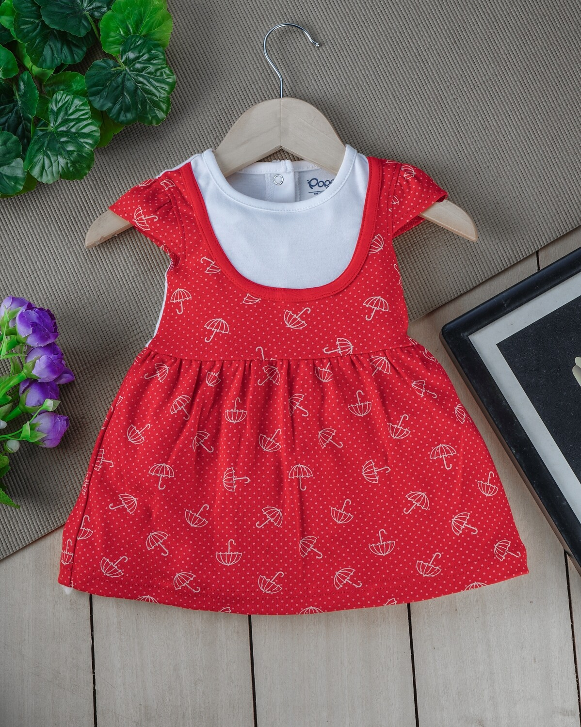 Sophic True Red Cap Sleeves Umbrella Printed Cotton Frock with Bloomer for Girls