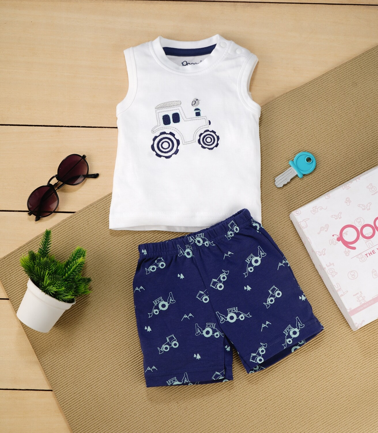 Brandon White Sleeveless Jeep T-Shirt with Dark Blue Printed Shorts for Boys M (6-12 Months)
