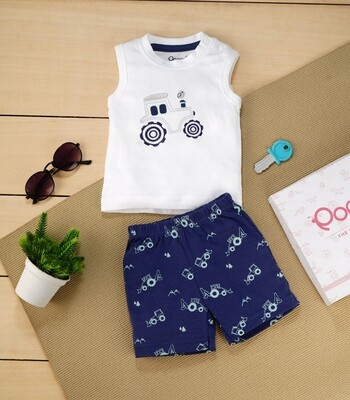 Brandon White Sleeveless Jeep T-Shirt with Dark Blue Printed Shorts for Boys