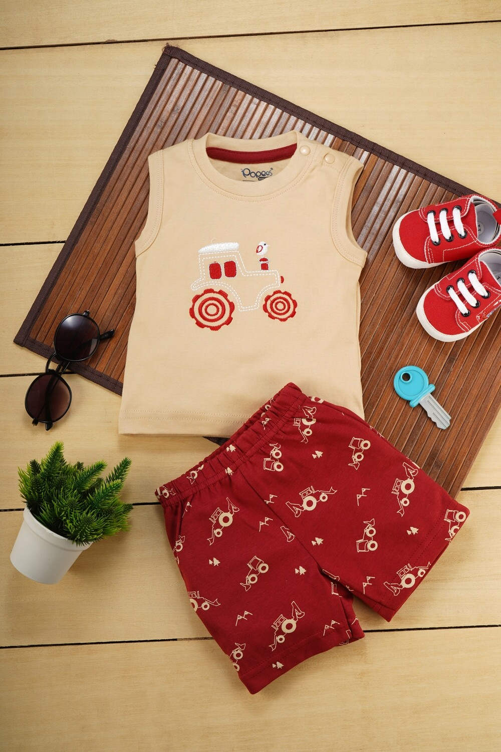 Brandon Beige Sleeveless Jeep T-Shirt with Garnet Red Printed Shorts for Boys M (6-12 Months)