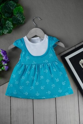 Sophic Scuba Green Cap Sleeves Umbrella Printed Cotton Frock with Bloomer for Girls