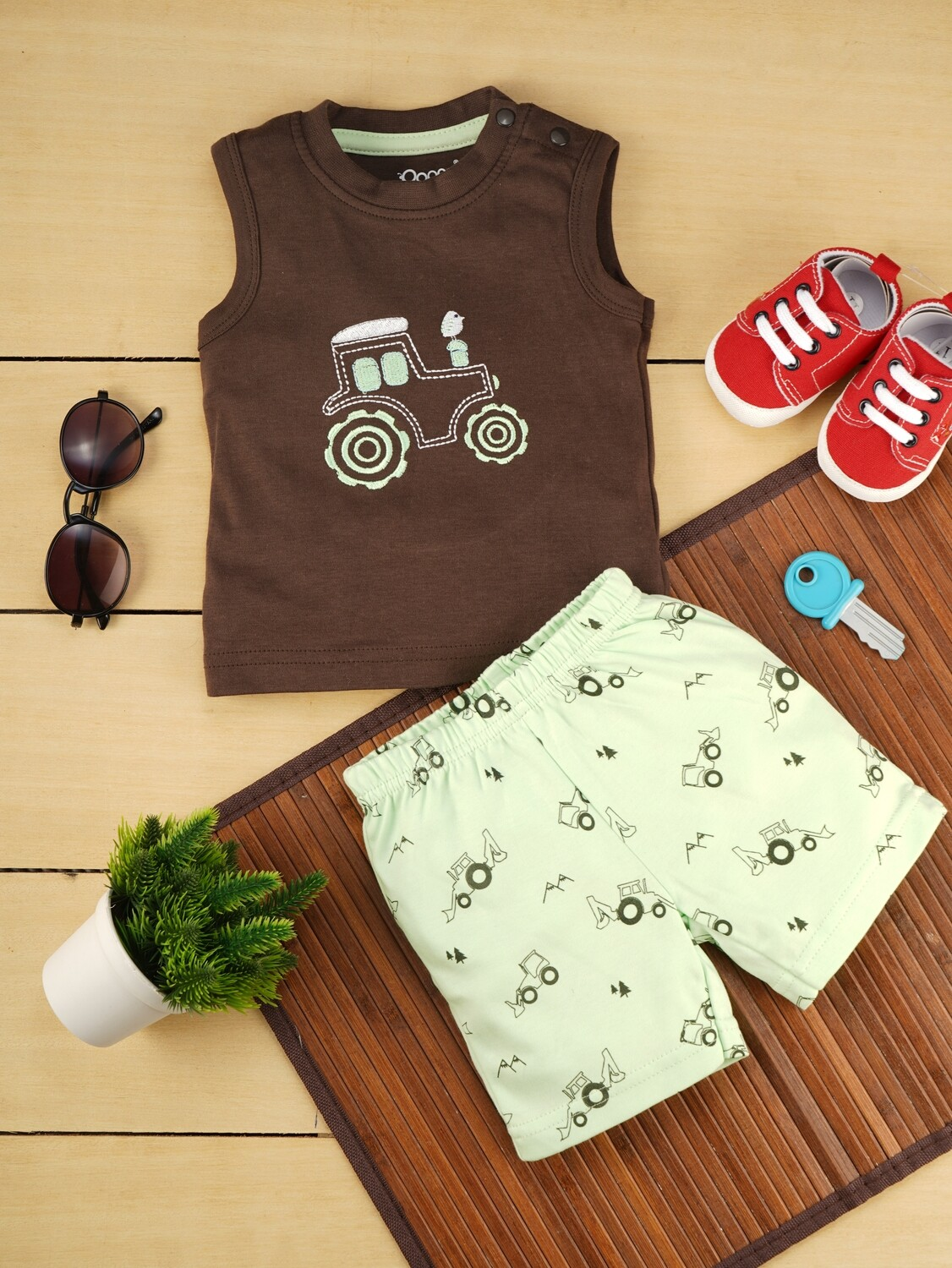 Brandon Dark Brown Sleeveless Jeep T-Shirt with Fairy Green Printed Shorts for Boys