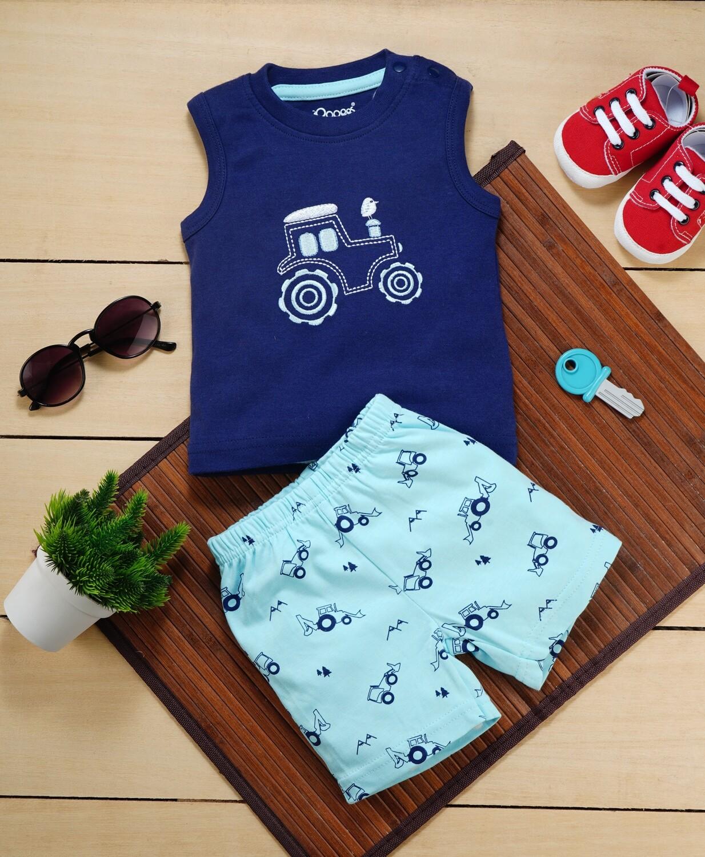 Brandon Dark Blue Sleeveless Jeep T-Shirt with Beach Blue Printed Shorts for Boys