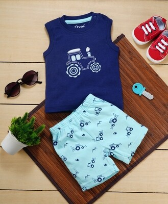 Brandon Dark Blue Sleeveless Jeep T-Shirt with Beach Blue Printed Shorts for Boys