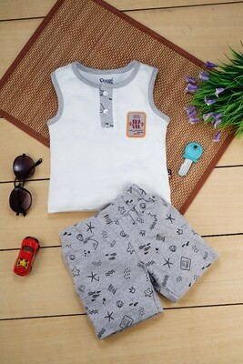Ragnar White Sleeveless Round Neck T-Shirt with Grey Printed Shorts for Boys