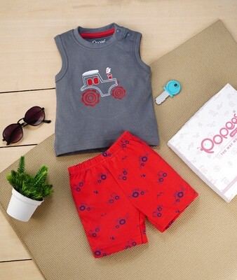 Brandon Charcoal Gray Sleeveless Jeep T-Shirt with Red Printed Shorts for Boys