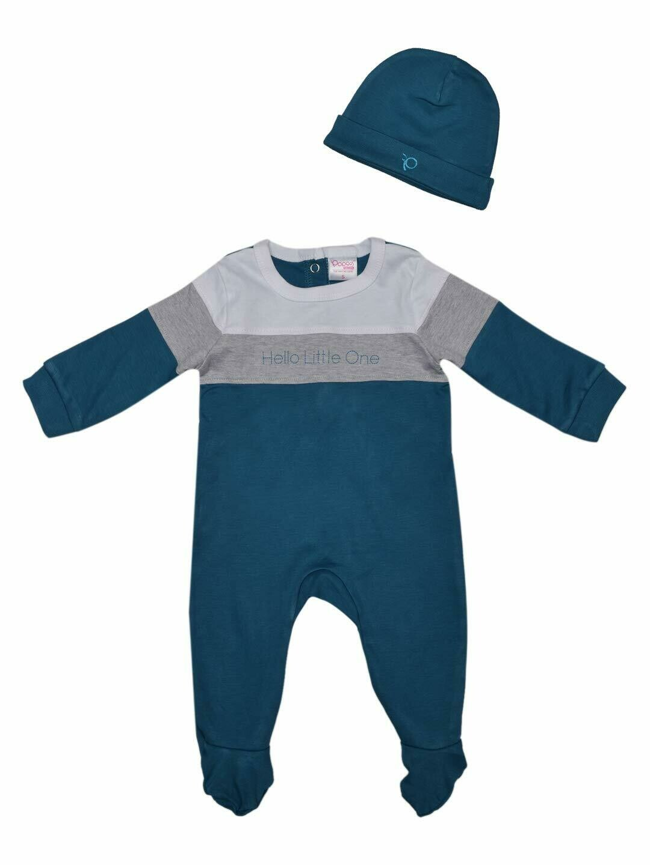 Hart Celestial Blue Full Sleeve Back Full Open Interlock with Cap Bodysuit For Boys