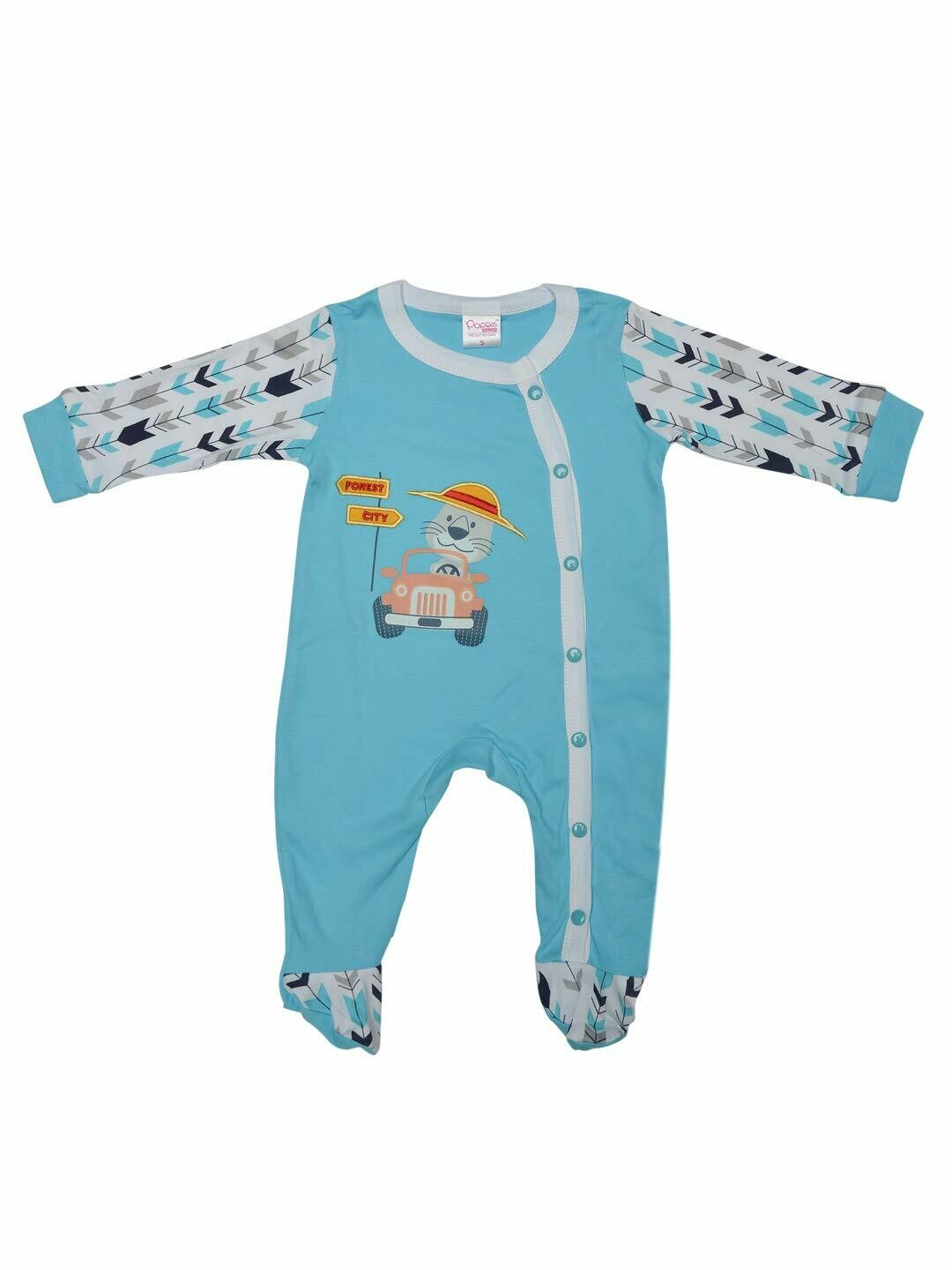 Horus Bachelor Blue Fullsleeves Printed Sleepsuit with Embroidery for Boys & Girls M (6-12 Months)