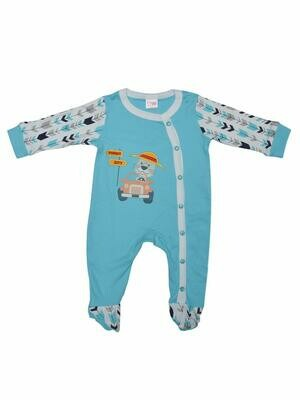 Horus Bachelor Blue Fullsleeves Printed Sleepsuit with Embroidery for Boys & Girls