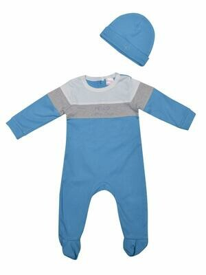 Hart Dark Blue Full Sleeves Romper with Cap for Boys & Girls