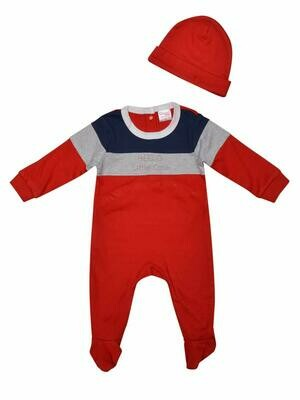 Hart Red Full Sleeves Romper with Cap for Boys & Girls