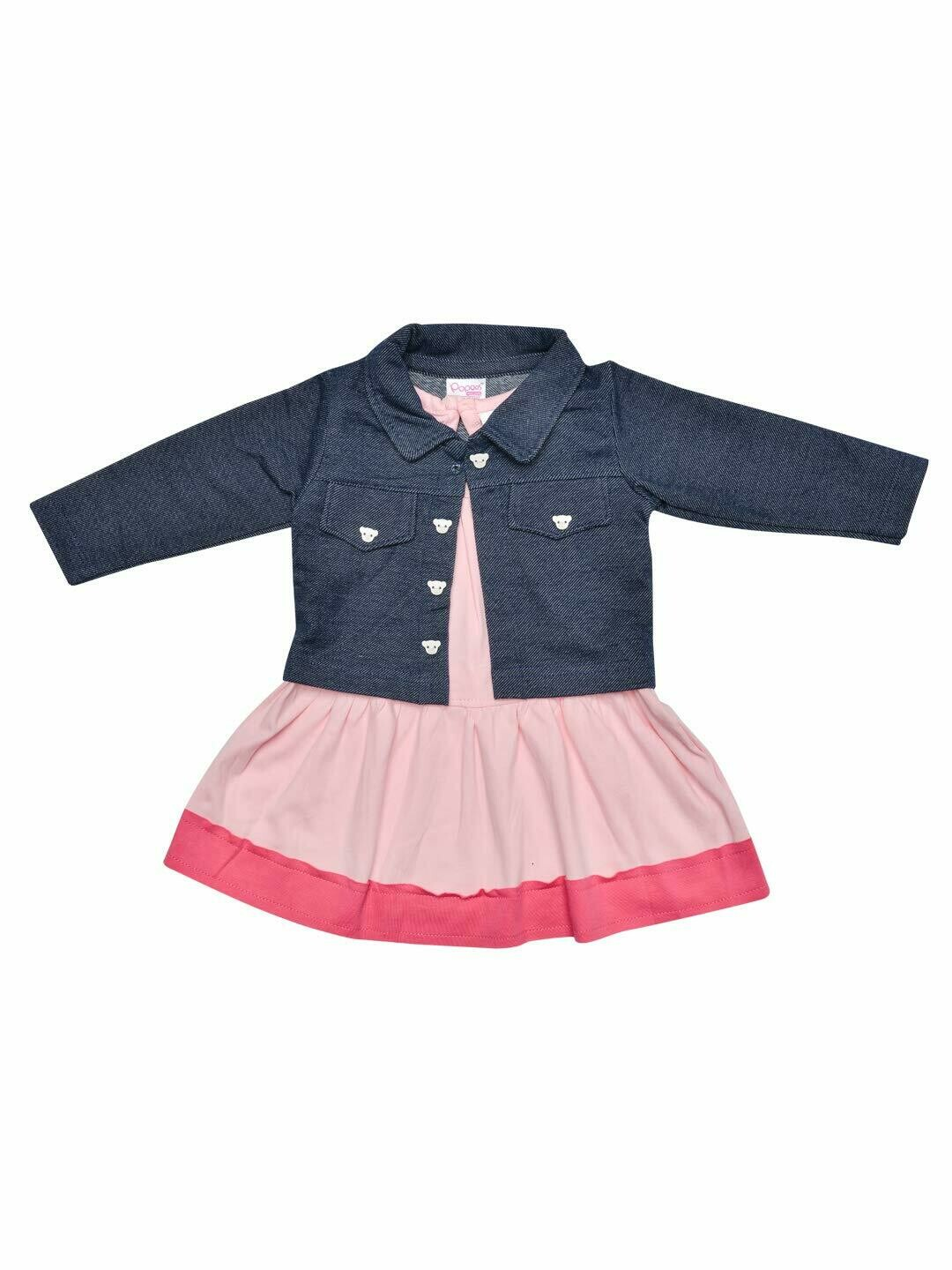 Juna Rose Frock with Full sleeves Jacket for Baby Girls