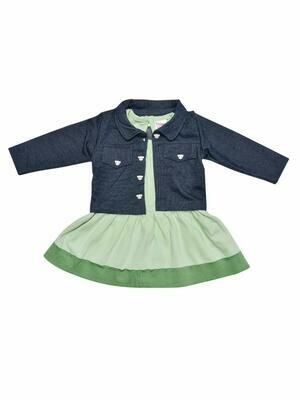 Juna Pastel Green Frock with Full sleeves Jacket for Baby Girls