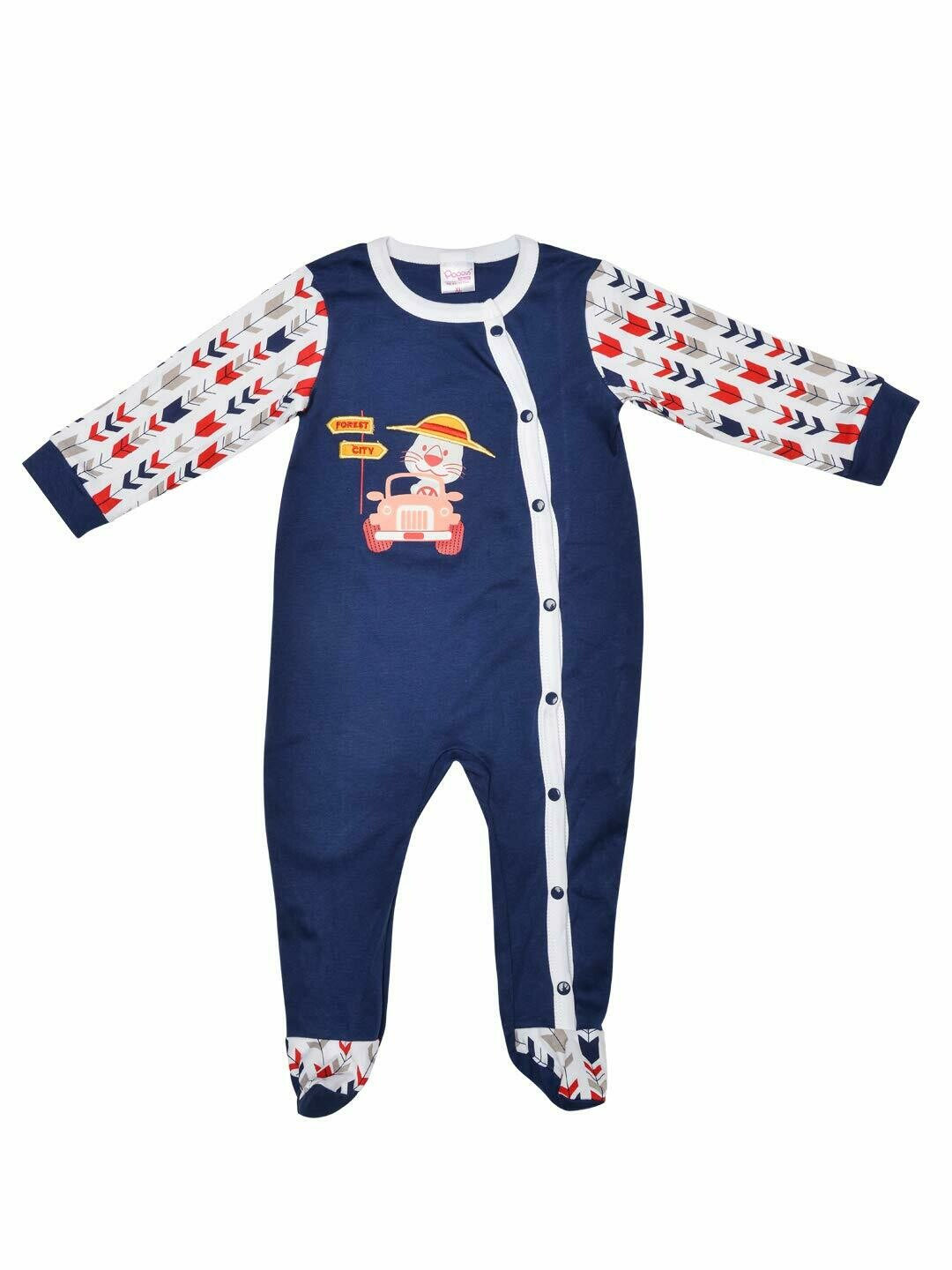 Horus Navy Blue Fullsleeves Printed Sleepsuit with Embroidery for Boys & Girls