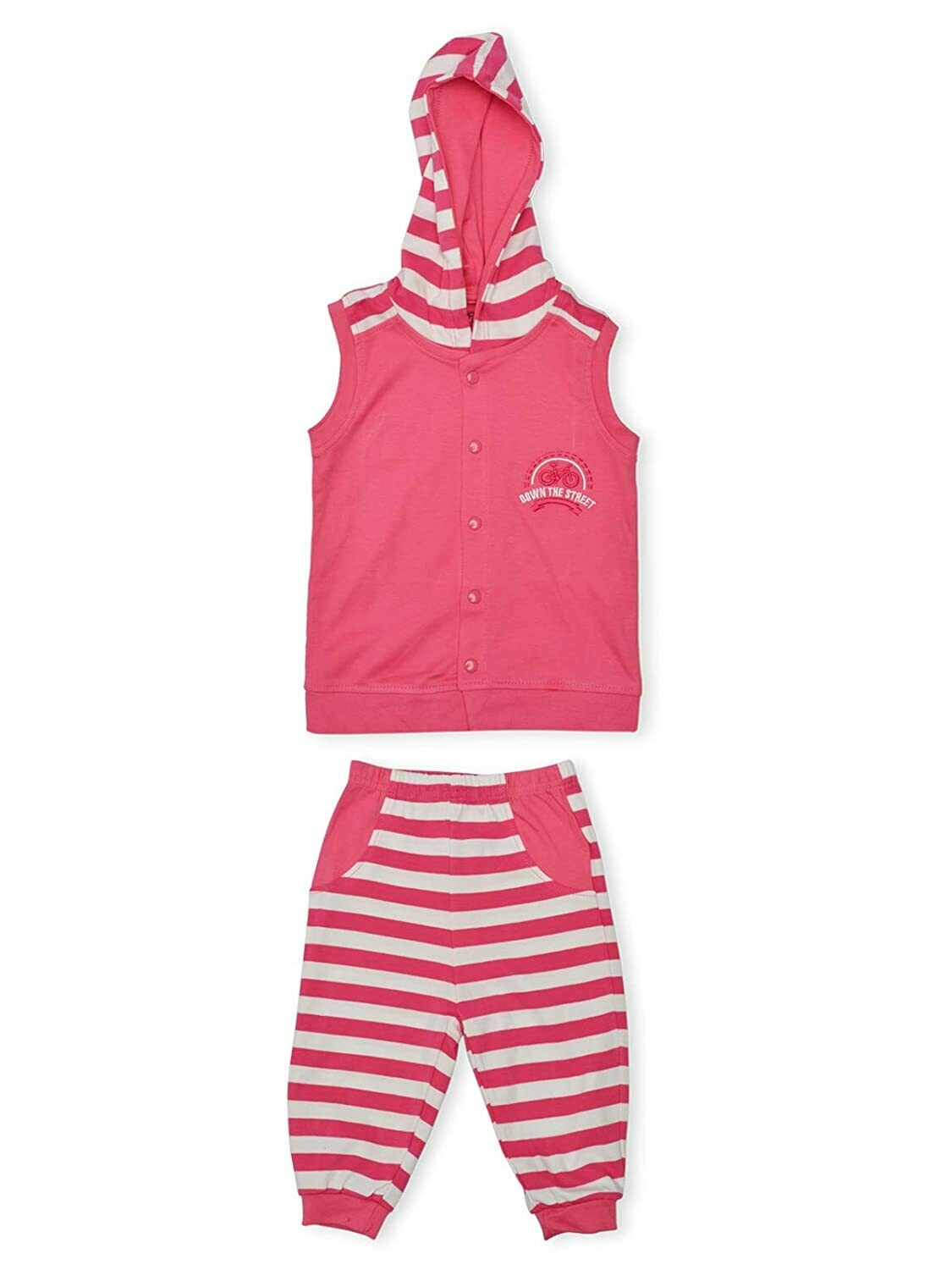 Mable Fuchsia Sleeveless Hooded T-shirt with Stripped Pant for Boys
