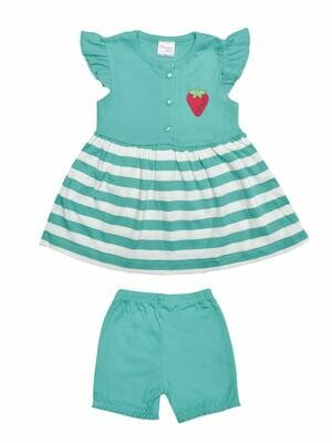 Margot Green Cap Sleeves Round Neck Striped Frock with Shorts