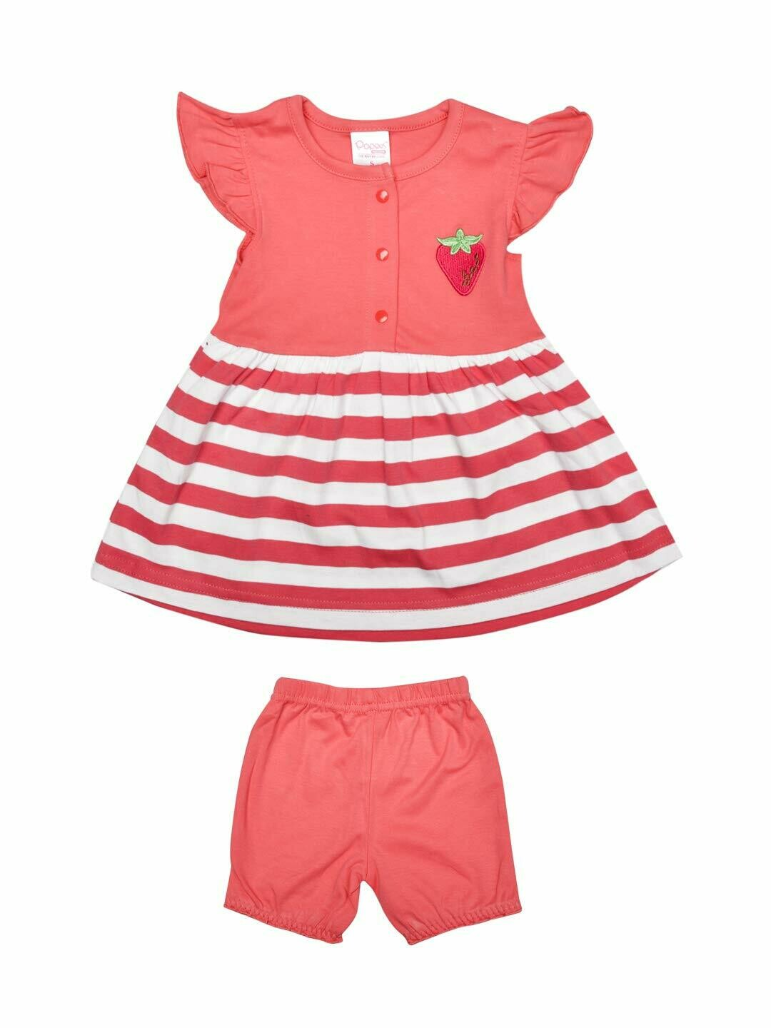 Margot Corel Cap Sleeves Round Neck Striped Frock with Shorts L (12-18 Months)