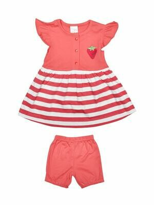 Margot Corel Cap Sleeves Round Neck Striped Frock with Shorts