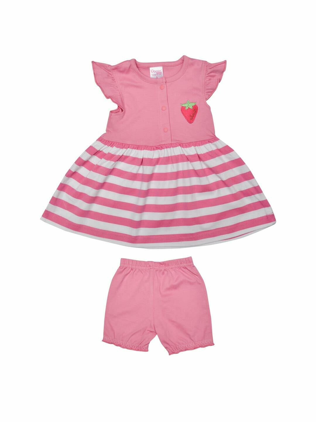 Margot Azalea Pink 2120  Cap Sleeves Round Neck Striped Frock with Shorts