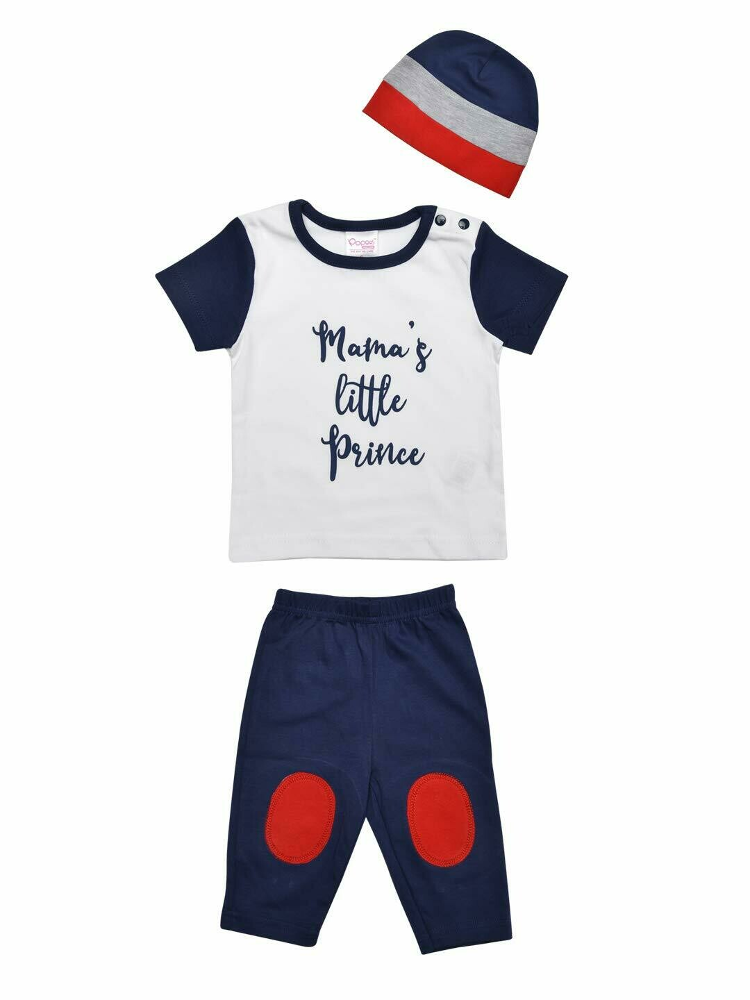 Neem Navy Blue Half Sleeves Round Neck Printed T-shirt with Lounge Pant & Cap M (6-12 Months)