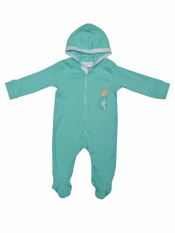 Rider Dark Green Full Sleeves Hooded Bodysuit/Romper for Baby Boys & Girls