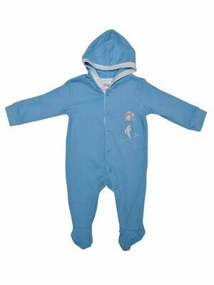 Rider Dark Blue Full Sleeves Hooded Bodysuit/Romper for Baby Boys & Girls