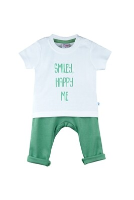 Boon Green Round Neck Half Sleeve Printed T-Shirt with Lounge Pant & Booties for Boys