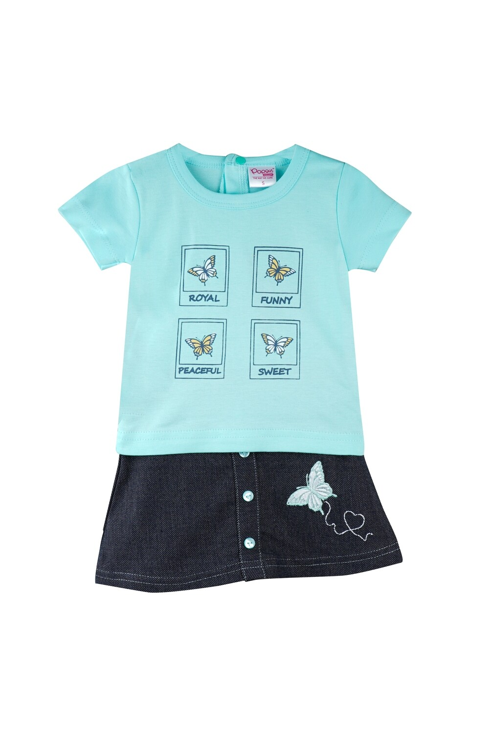Story Green Half Sleeves Round Neck T-Shirt with Butterfly Embroidered Skirt for Girls