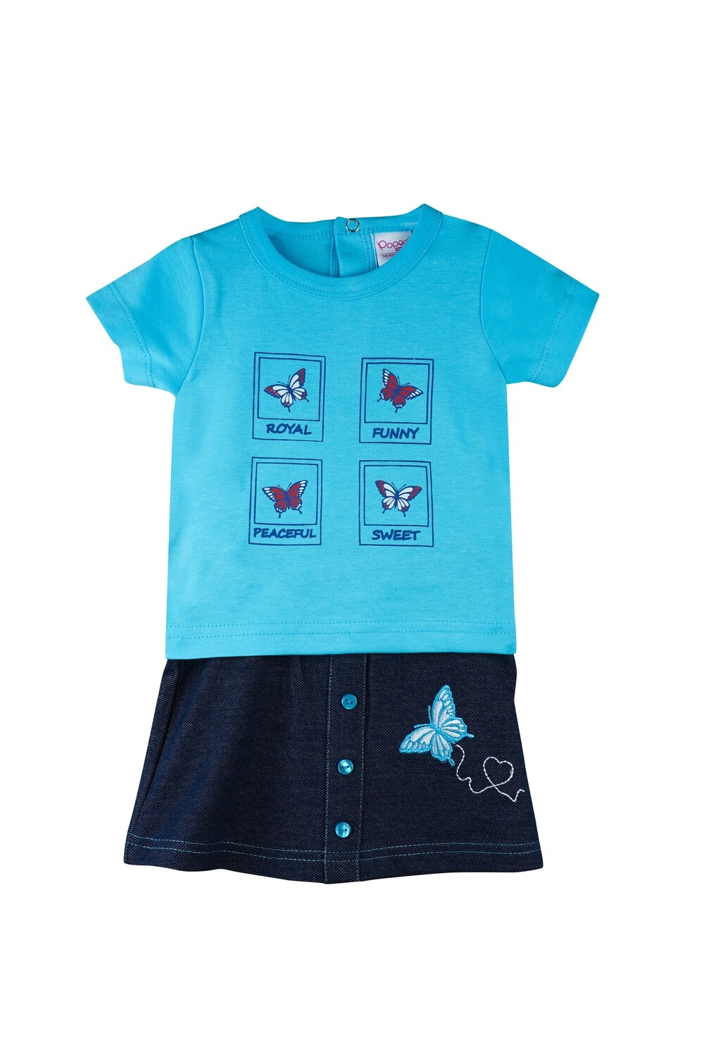 Story Bachelor Blue Half Sleeves Round Neck T-Shirt with Butterfly Embroidered Skirt for Girls