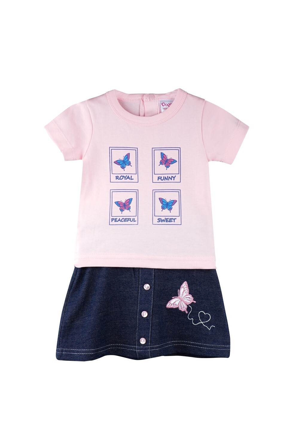 Story Rose Half Sleeves Round Neck T-Shirt with Butterfly Embroidered Skirt for Girls