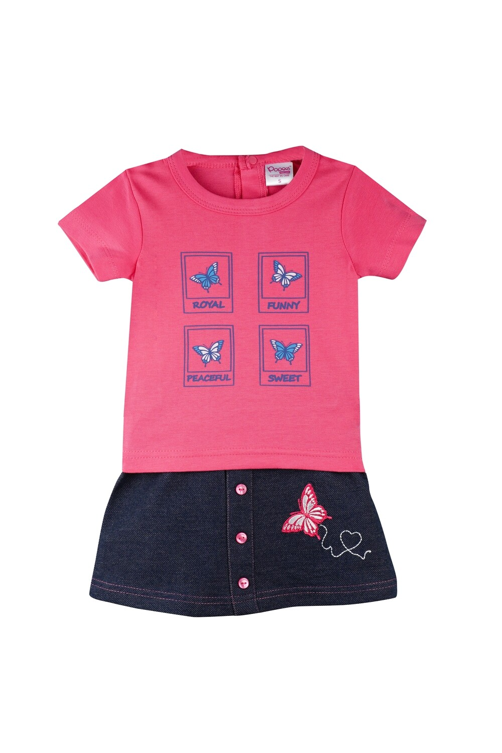 Story Fuchsia Half Sleeves Round Neck T-Shirt with Butterfly Embroidered Skirt for Girls