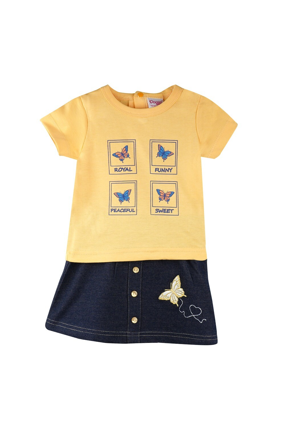 Story Yellow Half Sleeves Round Neck T-Shirt with Butterfly Embroidered Skirt for Girls