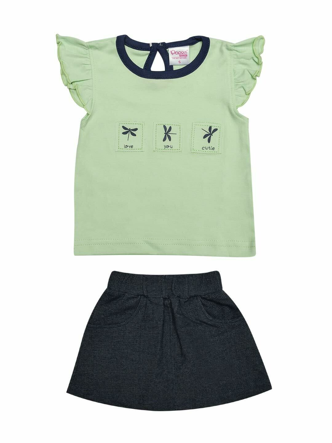 Zest Pastel Green Cap Sleeves Round Neck Top with Skirt for Girls