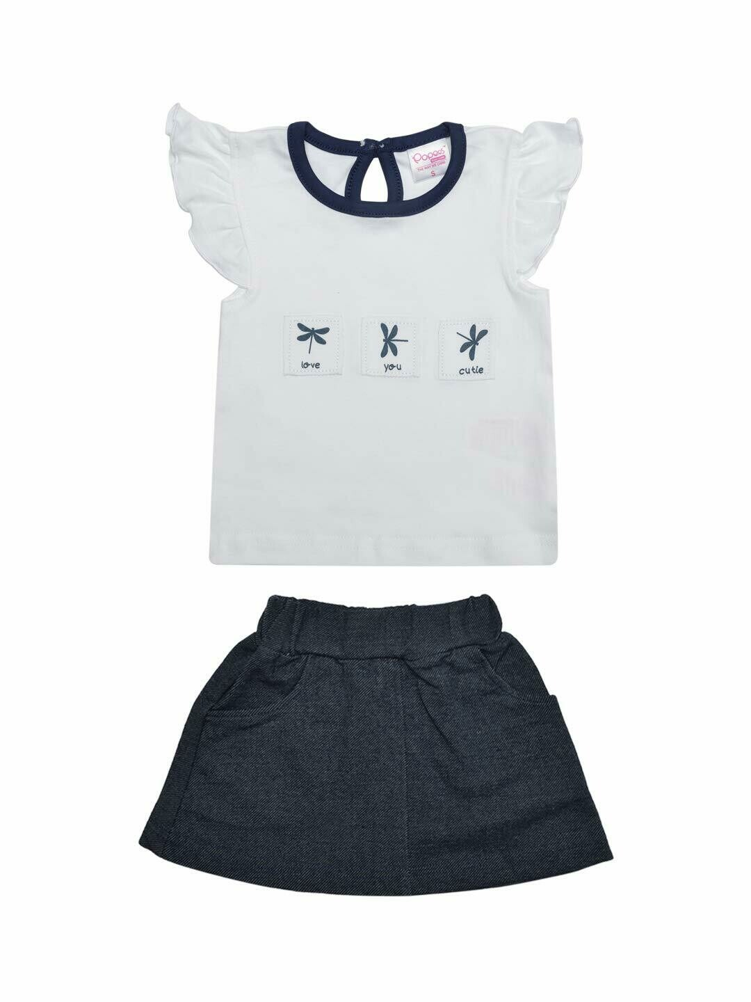 Zest White Cap Sleeves Round Neck Top with Skirt for Girls