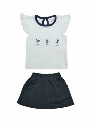 Zest White Cap Sleeves Round Neck Top with Skirt for Girls M (6-12 Months)