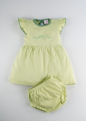 Roseli Shadow Lime Round Neck Cap Sleeve Frock with Bloomer for Girls