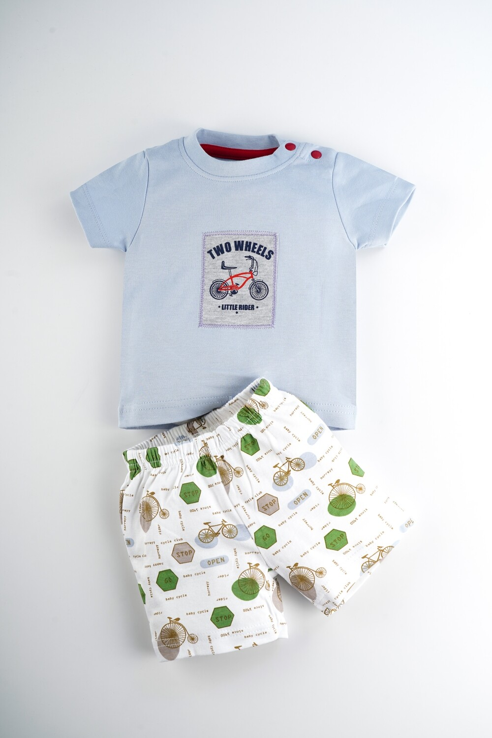 Sanz Kent Blue Half Sleeve Round Neck T-Shirt with Printed Shorts for Boys