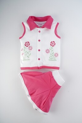 Tancy Fuchsia Sleeveless Collar Neck Embroidered Top Top with Skirt for Girls