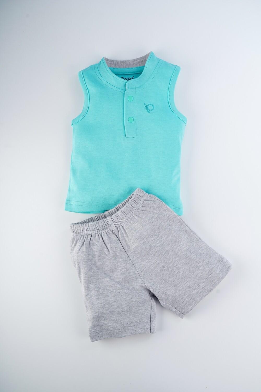Toxo Dark Green Sleeveless Sleeveless T-Shirt with Shorts for Boys