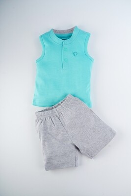 Toxo Dark Green Sleeveless Sleeveless T-Shirt with Shorts for Boys