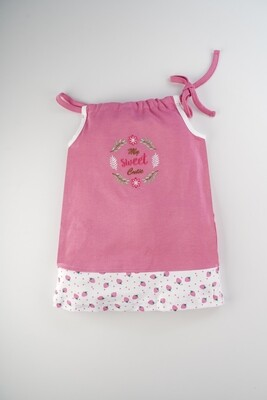Blume Fuchsia Shoulder Knot Sleeveless Strawberry Design Cotton Top With Bloomer for Baby Girls