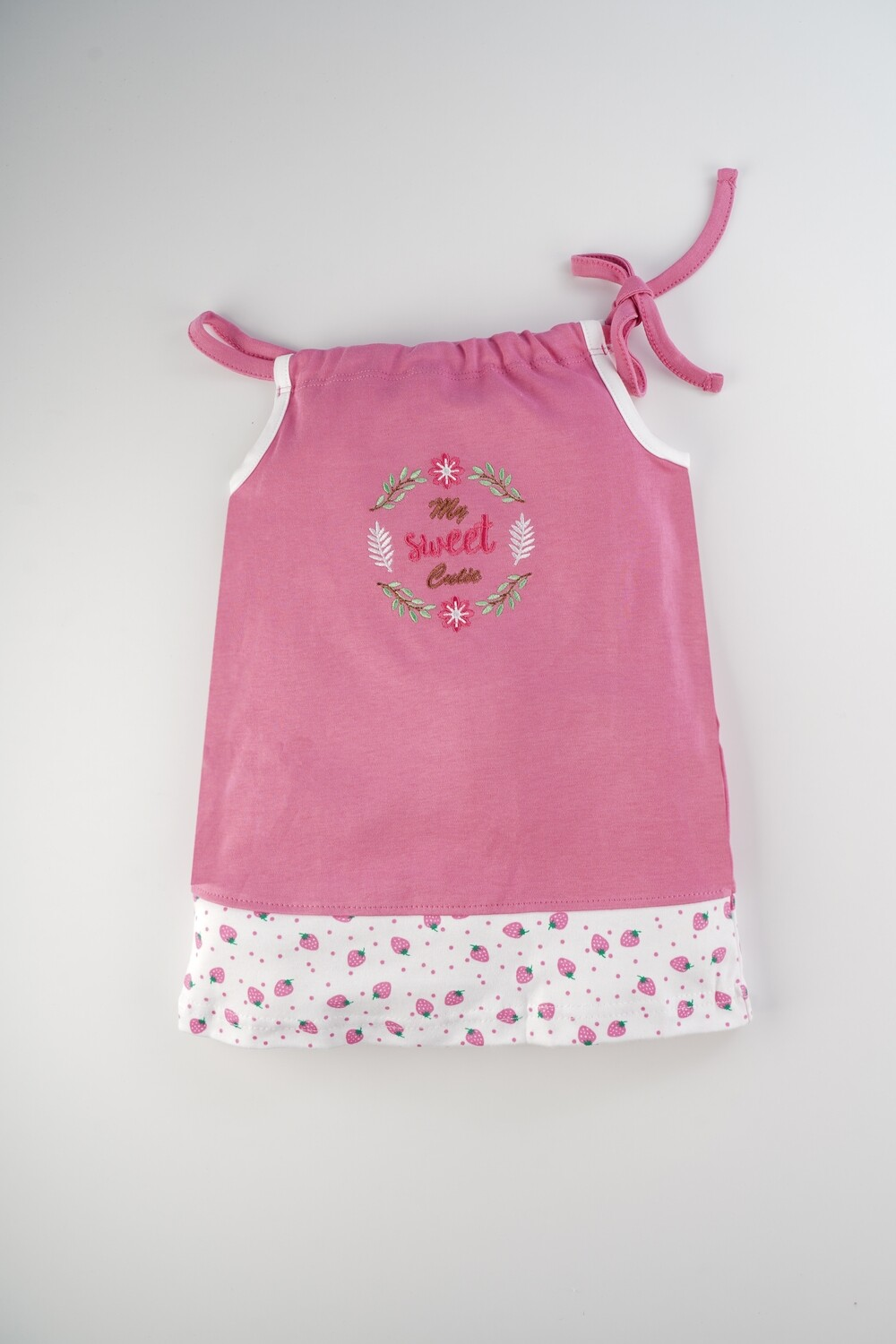Blume Azalea Pink Shoulder Knot Sleeveless Strawberry Design Cotton Top With Bloomer for Baby Girls