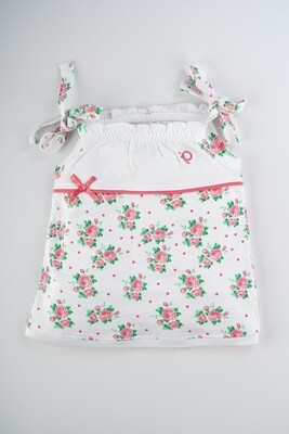 Elora Coral Shoulder Knot Sleeveless Flower Printed Cotton Frock With Bloomer for Baby Girls