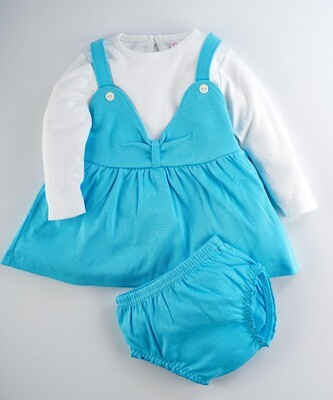 River Bachelor Blue Full Sleeves Frock with Bloomer for Baby Girls