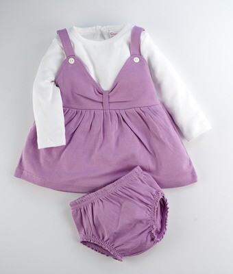 River Lavender Herb Full Sleeves Frock with Bloomer for Baby Girls
