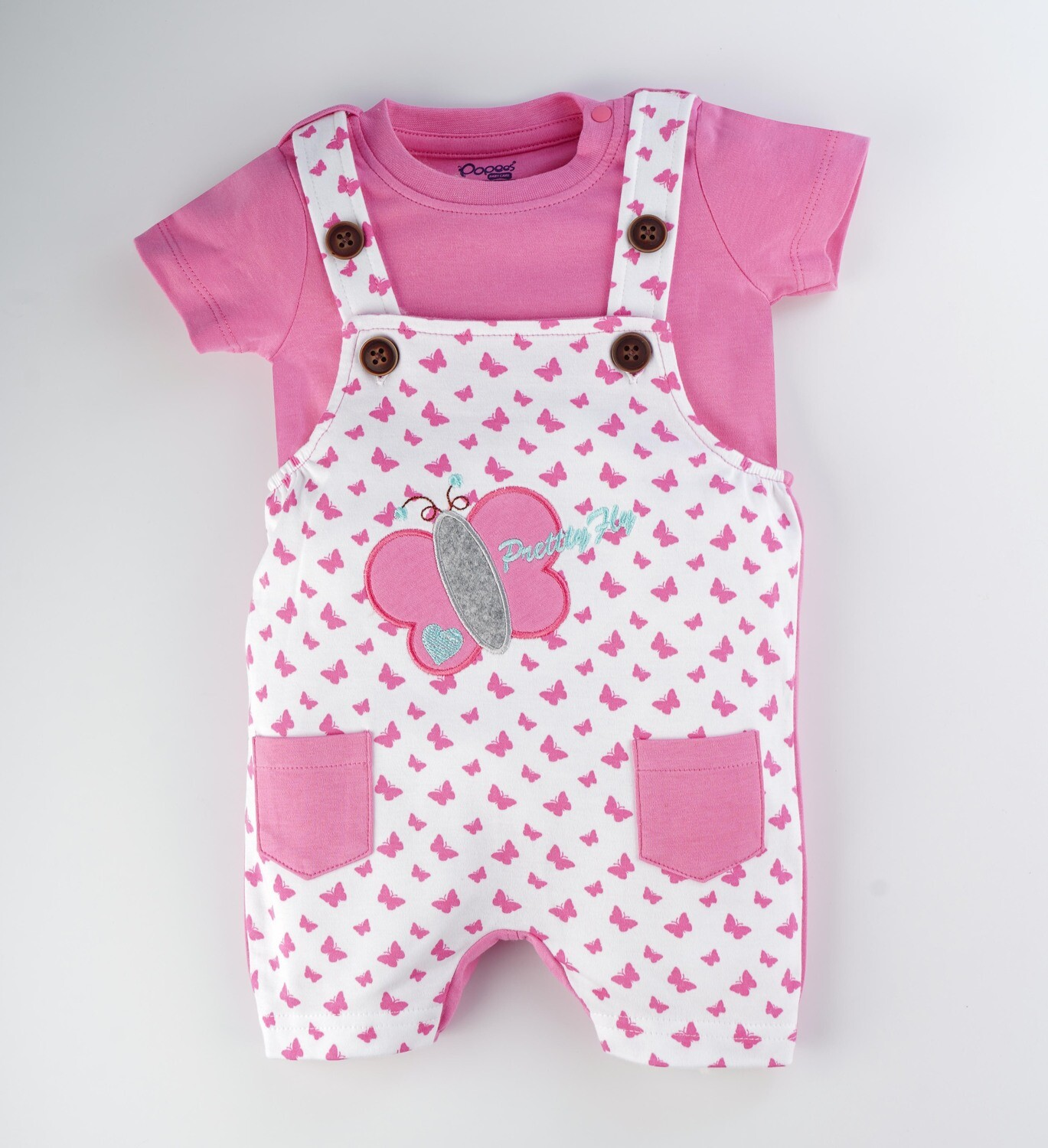 Tibby Azalea Pink Butterfly Printed Dungaree with Round Neck Half Sleeve T-Shirt for Boys